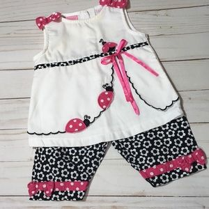 ellemenno 2pc White & Black  lady bug outfit
